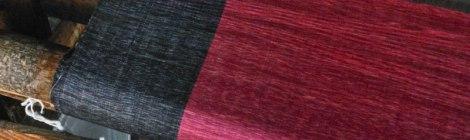 Inle Lake Weaving Village: Loom with Pink & Indigo Lotus Cloth
