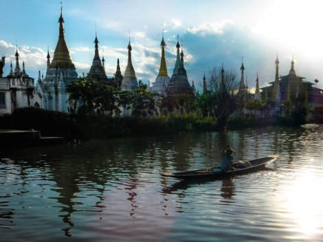 Inle Lake Magical Stupas Reflected in the Water