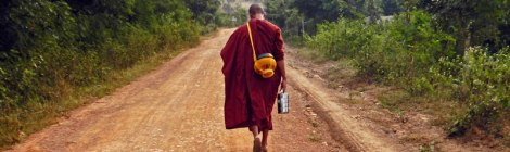 Following a Monk on our Inle Lake day hike