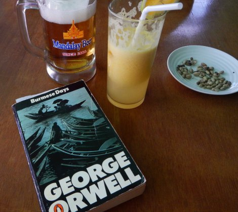 Burmese Days by George Orwell along with Beer, fruit shake and salty soy beans