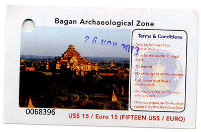 BaganArchaeologicalZoneTicketw