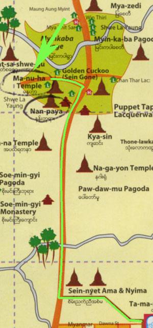 Bagan's Manuha Temple on a map