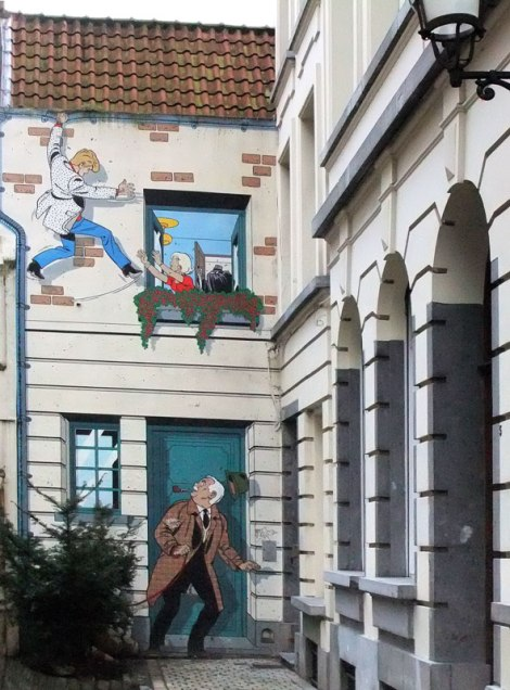 Brussels Cartoon Mural on a Building Wall