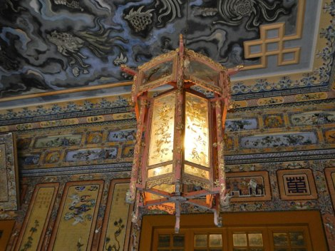 The Dragon Ceiling & Lantern in the Khai Dinh Tomb in Hue, Vietnam