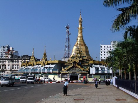 Sule Pagoda is situated in a traffic circle in Yangon, Myanmar