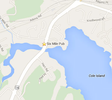Location of Six Mile Pub on Hwy 1A