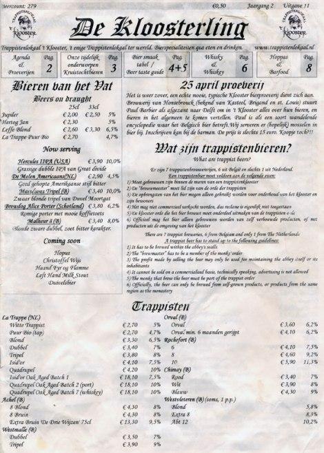 Beer Menu of De Kloostering