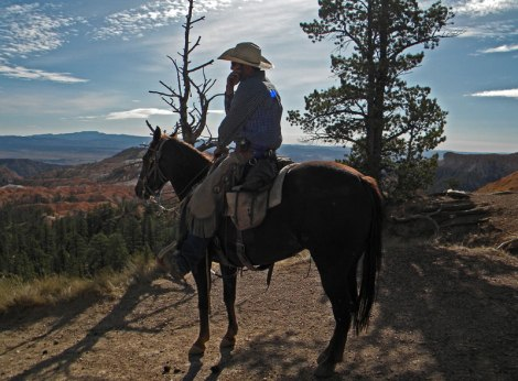 A cowboy (with a cowboy hat) on a cell phone in Utah's Bryce Canyon