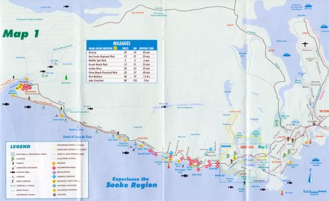 Map showing the beaches along the Old Island Hwy from Sooke to Port Renfrew