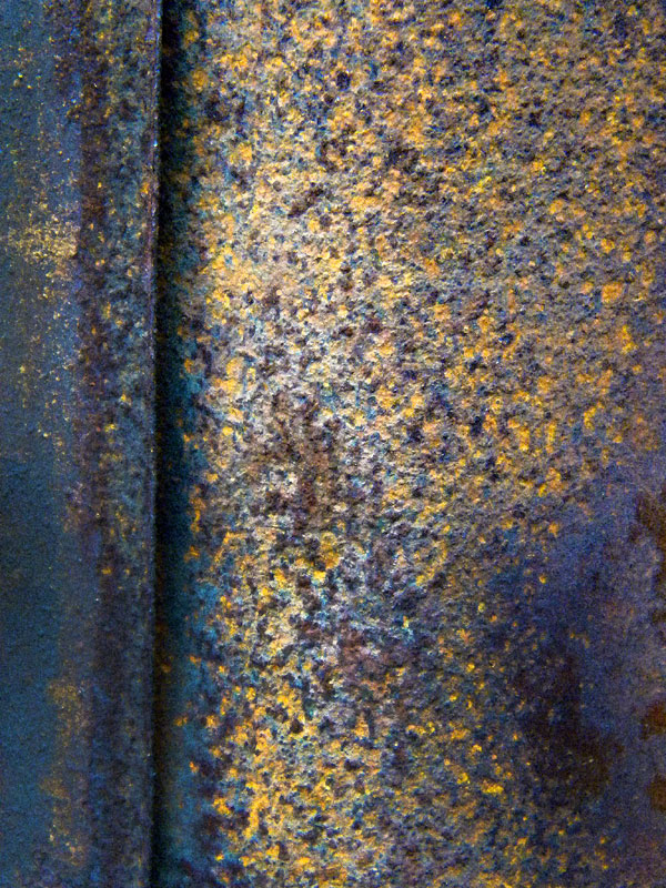 Close-up of rust on an old industrial building on Granville Island