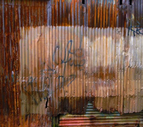 Rust on an old industrial building on Granville Island