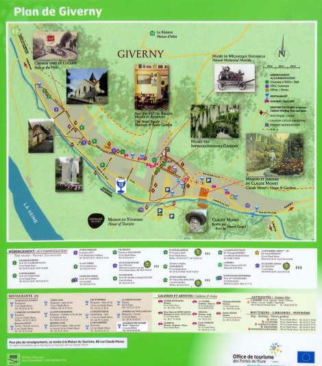 Map of the Village of Giverny Showing Monet's Garden