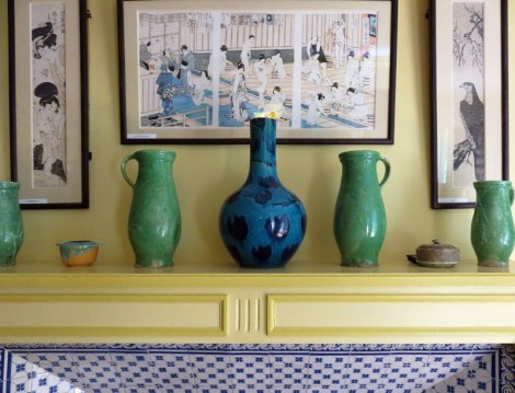 The Yellow Mantel in Monet's House with Japanese Prints and Rustic Pottery