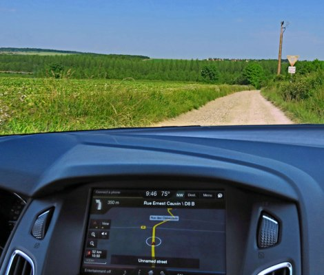 GPS taking us down unnamed roads on the way to Rouen