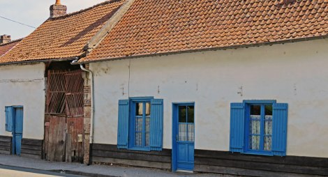 Home with Blue Doors on the Way to Rouen in France