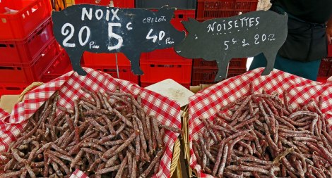 In Rouen's Farmer's Market They Have Some Amazing Sausages for Sale