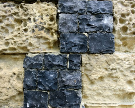 Flint & sandstone wall detail on the church in the Medieval Village at St-Valery-sur-Sommes