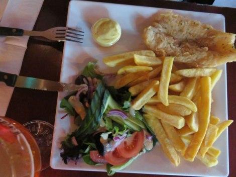 Fish & Salad at the The Dutch Maritiem Pub in Rotterdam, Holland