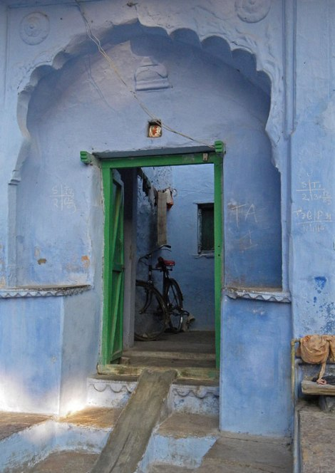Green door in Bundi, India