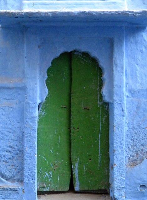 Green door in Jodhpur, India