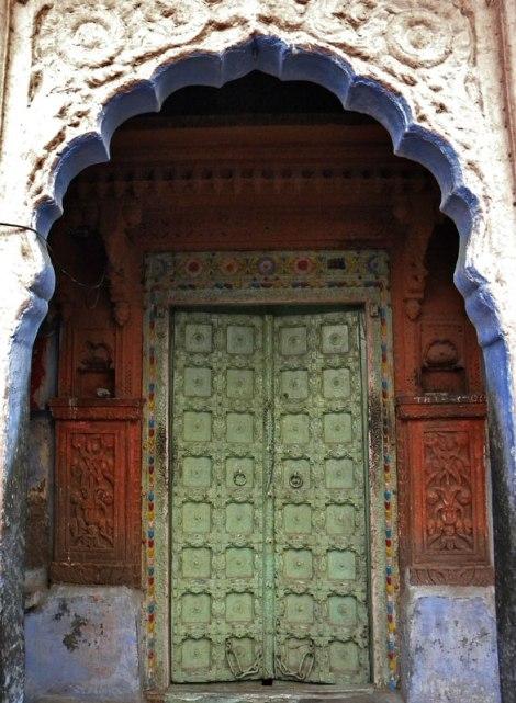 Pale green door in Jodhpur, India