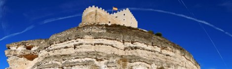 Castillo de Curiel, a medieval castle converted into a hotel situated near Penafiel in Spain