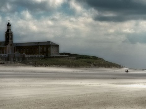 The beach at Berck-sur-Mer on the Normandy Coast of France