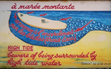 A sign on the beach at Berck-sur-Mer on the Normandy Coast of France
