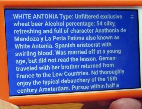 Witte Antonia Beer Label Translation at De Bekeerde Suster Brewpub