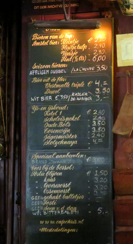 The Menu in Café Chris, a Historic Pub or Brown Café as they are known in Amsterdam
