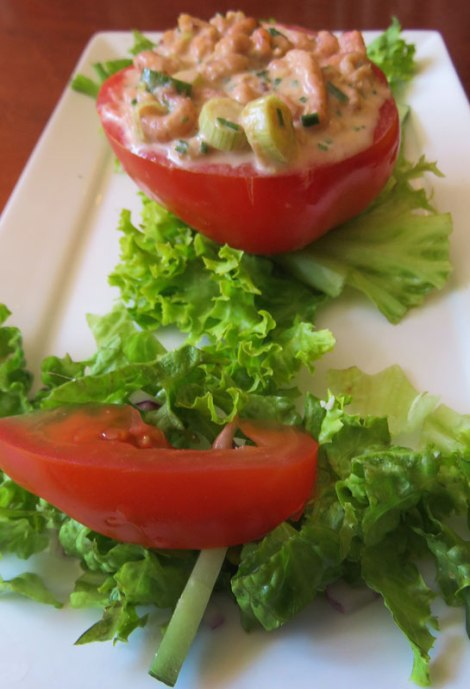 Shrimp-Stuffed Tomato in Gollem's Proeflokaal in Amsterdam, Holland