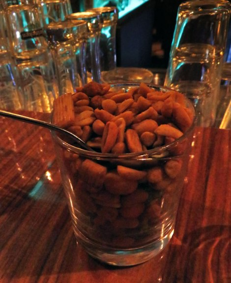Some peanut snacks at the bar of the SS Rotterdam Cruise Ship/Hotel