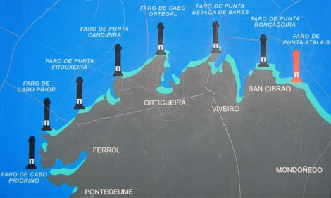 Map of the Lighthouses (Faros) near Viveiro, Spain