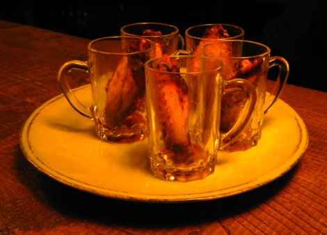 Tapas of chicken wings in a mug in Santiago de Compostela, Spain