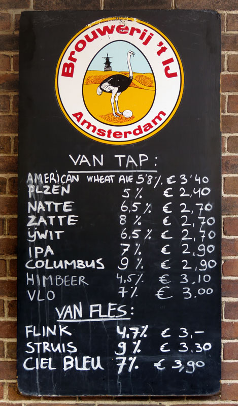 List of Beers for Brewery 'tIj, a Brewpub in a Windmill