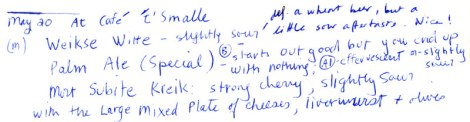 Cafe 't Smalle beer tasting notes
