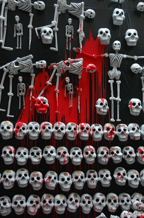 An art piece celebrating the Day of the Dead in Mexico City.
