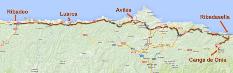 map of our route from Ribadeo to Canga de Onis