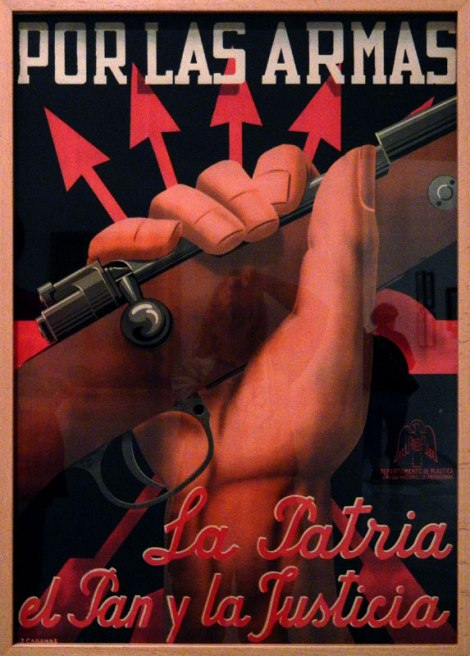 A war poster at the Reina Sofia Modern Art museum in Madrid