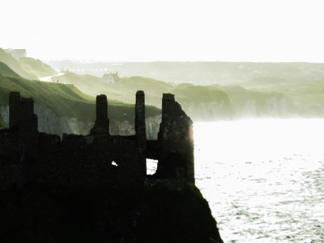 Dunluce Castle on the north Irish coast at sunset