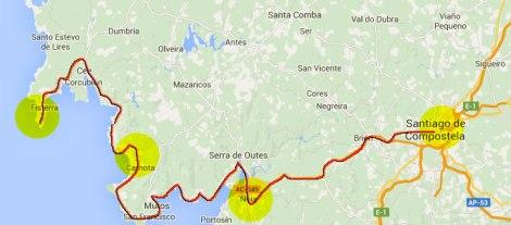 Route from Santiago de Compostela to Fisterra via Noia