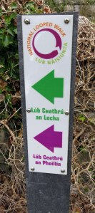 A Looped Walks sign on the smallest of the Aran Islands, Inisheer