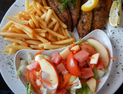 fish, salad and chips at a Castletownbere restaurant