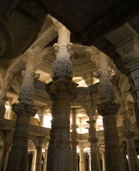 Intricate carvings omn the marble pillars of the Jain Temple in Ranakpur, India