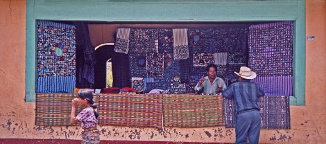A clothing store in Guatemala with local woven fabrics for sale