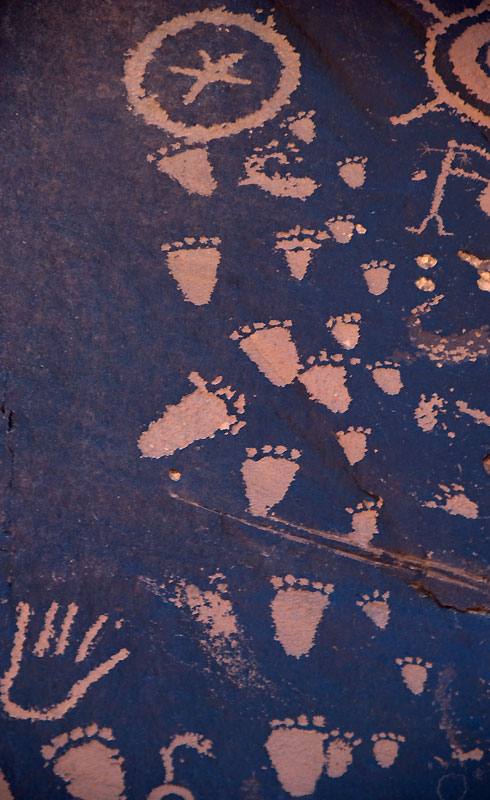 Close-ups of 'Newspaper Rock' petroglyphs