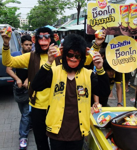 Some monkeys hand out banana chocolate milk at the JJ market in Bangkok