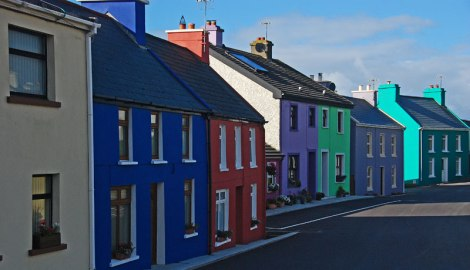Brightly Colored Houses on Beara Peninsula in Ireland
