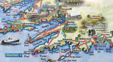 Route de la péninsule de Cork autour de l'Irlande