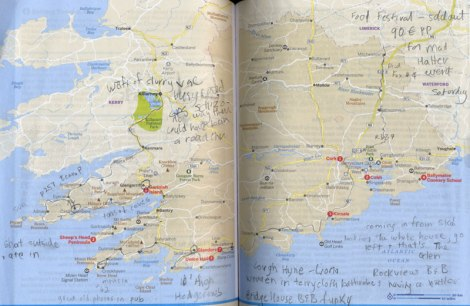 Our Route Around Cork, Ireland (Lonely Planet Map)